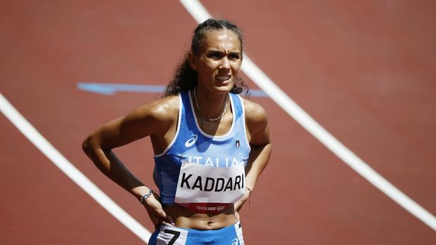 Tokyo 2020 Olympics - Athletics - Women's 200m - Round 1 - Olympic Stadium, Tokyo, Japan - August 2, 2021. Dalia Kaddari of Italy reacts after competing in Heat 5 REUTERS/Phil Noble