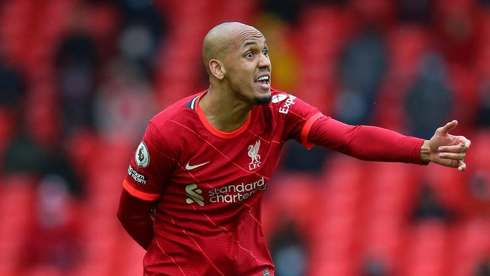 LIVERPOOL, ENGLAND - MAY 23:  Fabinho of Liverpool reacts during the Premier League match between Liverpool and Crystal Palace at Anfield on May 23, 2021 in Liverpool, England. (Photo by Alex Livesey/Getty Images)