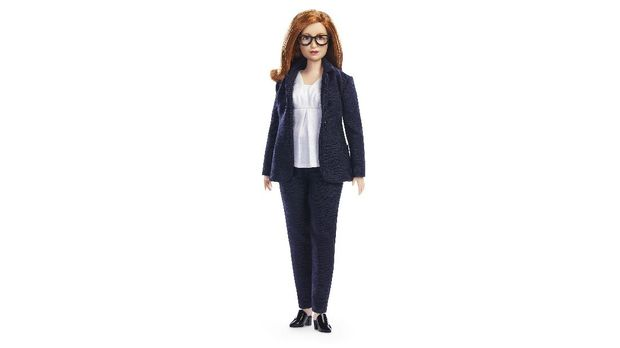 In this undated photo issued by Mattel, a view of the Barbie doll made in the image of British Professor Sarah Gilbert, in honour of the Oxford vaccine co-creator. The toy company has created models in honour of five other women working in STEM around the world. (Andy Paradise/Mattel via AP)
