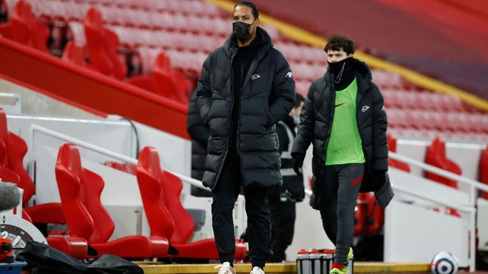 LIVERPOOL, ENGLAND - FEBRUARY 20: Virgil van Dijk of Liverpool looks on prior to the Premier League match between Liverpool and Everton at Anfield on February 20, 2021 in Liverpool, England. Sporting stadiums around the UK remain under strict restrictions due to the Coronavirus Pandemic as Government social distancing laws prohibit fans inside venues resulting in games being played behind closed doors. (Photo by Phil Noble - Pool/Getty Images)