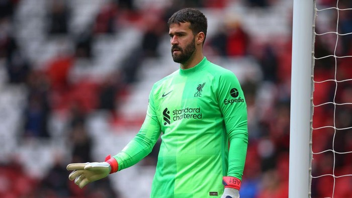 LIVERPOOL, ENGLAND - MAY 23:  Alisson Becker of Liverpool looks on during the Premier League match between Liverpool and Crystal Palace at Anfield on May 23, 2021 in Liverpool, England. (Photo by Alex Livesey/Getty Images)