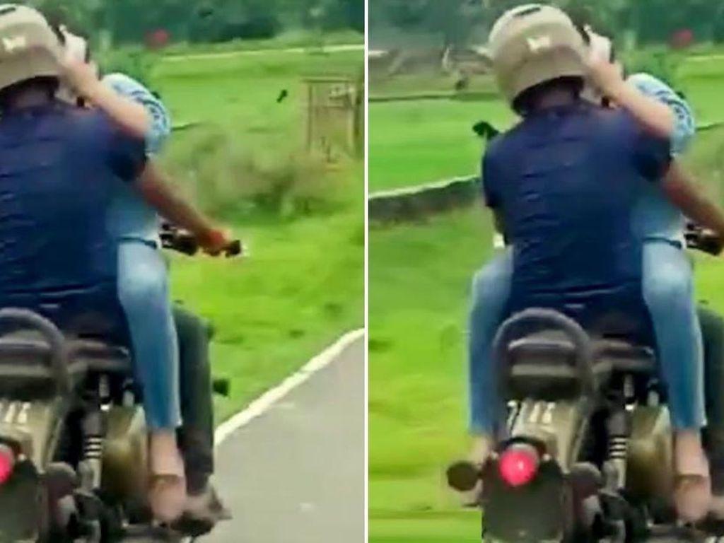 Bikin Resah! Dua Sejoli Boncengan Naik Motor tapi Hadap-hadapan