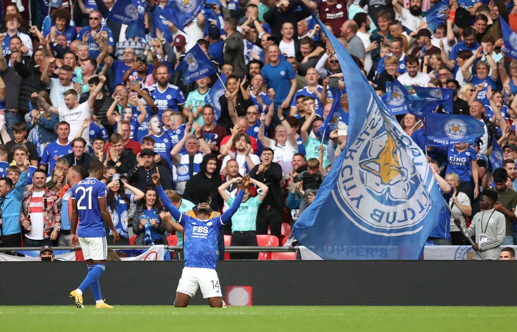 LONDON, ENGLAND - AUGUST 07: Kelechi Iheanacho of Leicester City celebrates after scoring their side's first goal during The FA Community Shield Final between Manchester City and Leicester City at Wembley Stadium on August 07, 2021 in London, England. (Photo by Catherine Ivill/Getty Images)