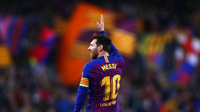 FILE - In this April 16, 2019 file photo Barcelona forward Lionel Messi celebrates after scoring his sides second goal during the Champions League quarterfinal, second leg, soccer match between FC Barcelona and Manchester United at the Camp Nou stadium in Barcelona, Spain. (AP Photo/Manu Fernandez, File)