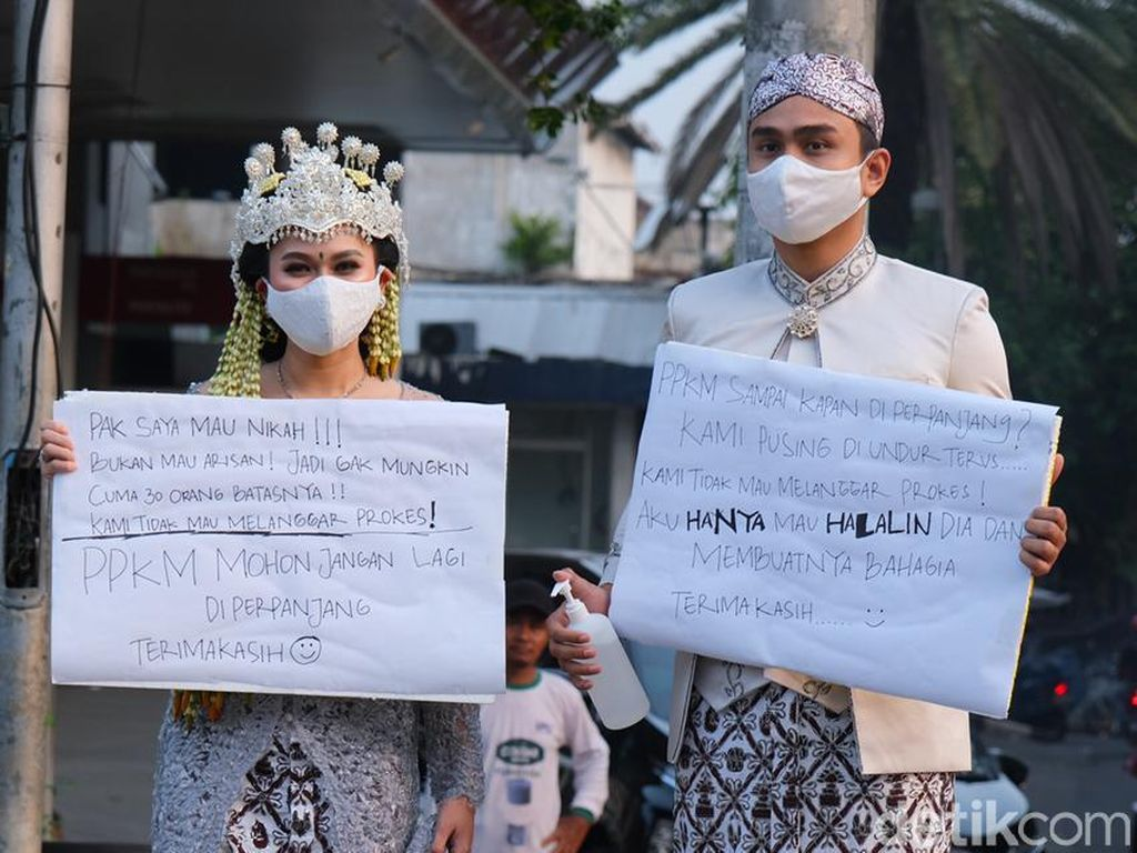Viral Aksi Protes PPKM Pakai Baju Pengantin Ala Lutfi Agizal