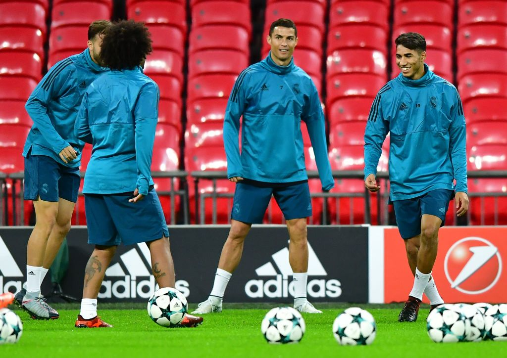 LONDON, ENGLAND - OCTOBER 31: Cristiano Ronaldo and Achraf Hakimi of Real Madrid train during a training session ahead of their UEFA Champions League Group H match against Tottenham Hotspur at Wembley Stadium on October 31, 2017 in London, England. (Photo by Alex Broadway/Getty Images)
