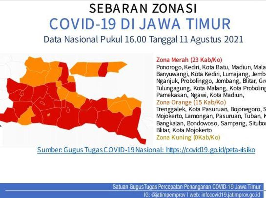 Ini Zonasi COVID-19 di Jatim, Surabaya Zona Oranye