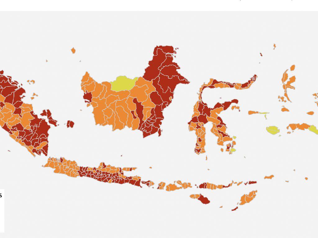 Zona Merah Corona Masih Tinggi, DKI Jakarta dan Tangsel Pindah ke Oranye