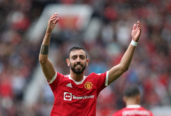 MANCHESTER, ENGLAND - AUGUST 07: Bruno Fernandes of Manchester United celebrates scoring during the pre-season friendly match between Manchester United and Everton at Old Trafford on August 07, 2021 in Manchester, England. (Photo by Jan Kruger/Getty Images)