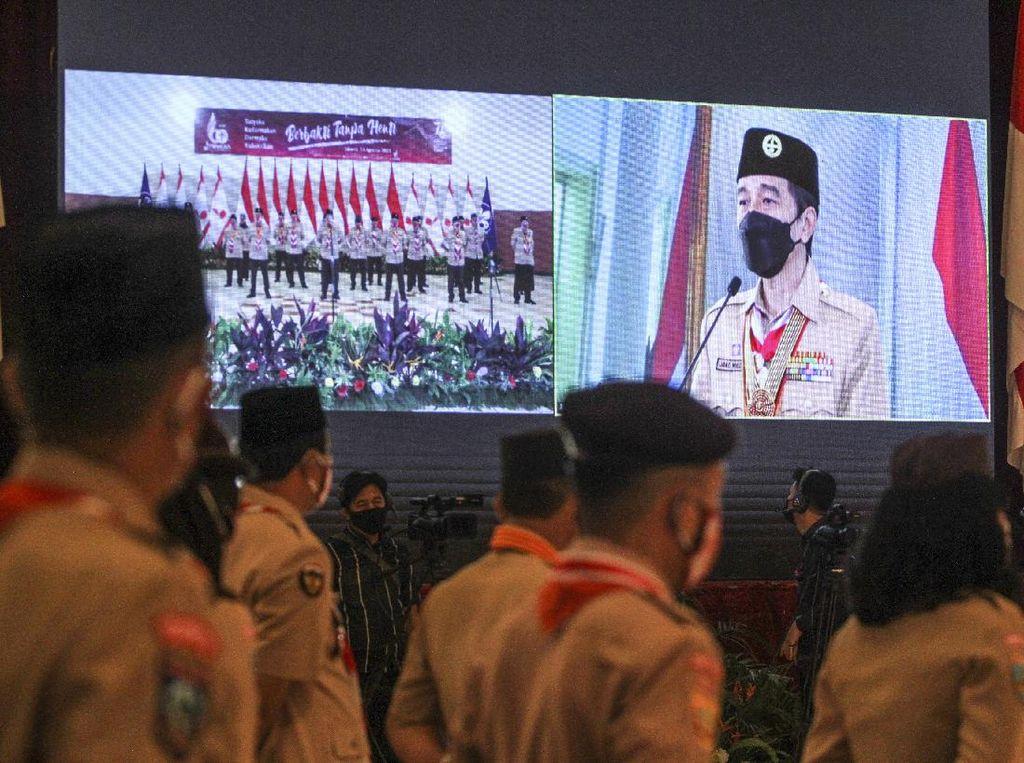 Jokowi Beri Sambutan Secara Virtual di Hari Pramuka ke-60