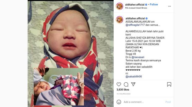 Anak Aldi Taher Lahir