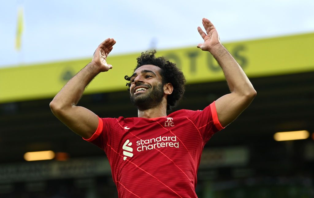 NORWICH, ENGLAND - AUGUST 14:  Mohamed Salah of Liverpool reacts during the Premier League match between Norwich City  and  Liverpool at Carrow Road on August 14, 2021 in Norwich, England. (Photo by Shaun Botterill/Getty Images)