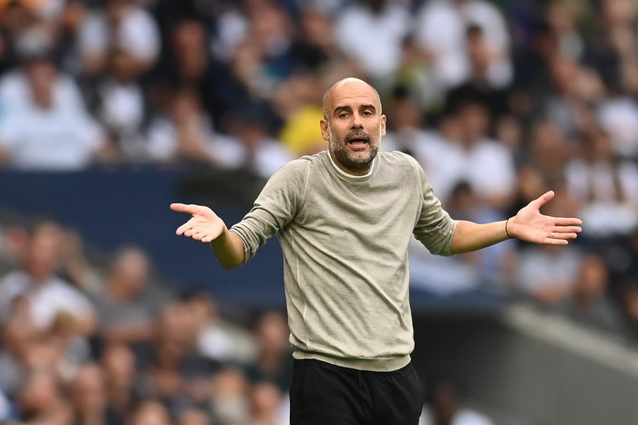 LONDON, ENGLAND - AUGUST 15: Manchester City manager Pep Guardiola gestures during the Premier League match between Tottenham Hotspur  and  Manchester City at Tottenham Hotspur Stadium on August 15, 2021 in London, England. (Photo by Michael Regan/Getty Images)