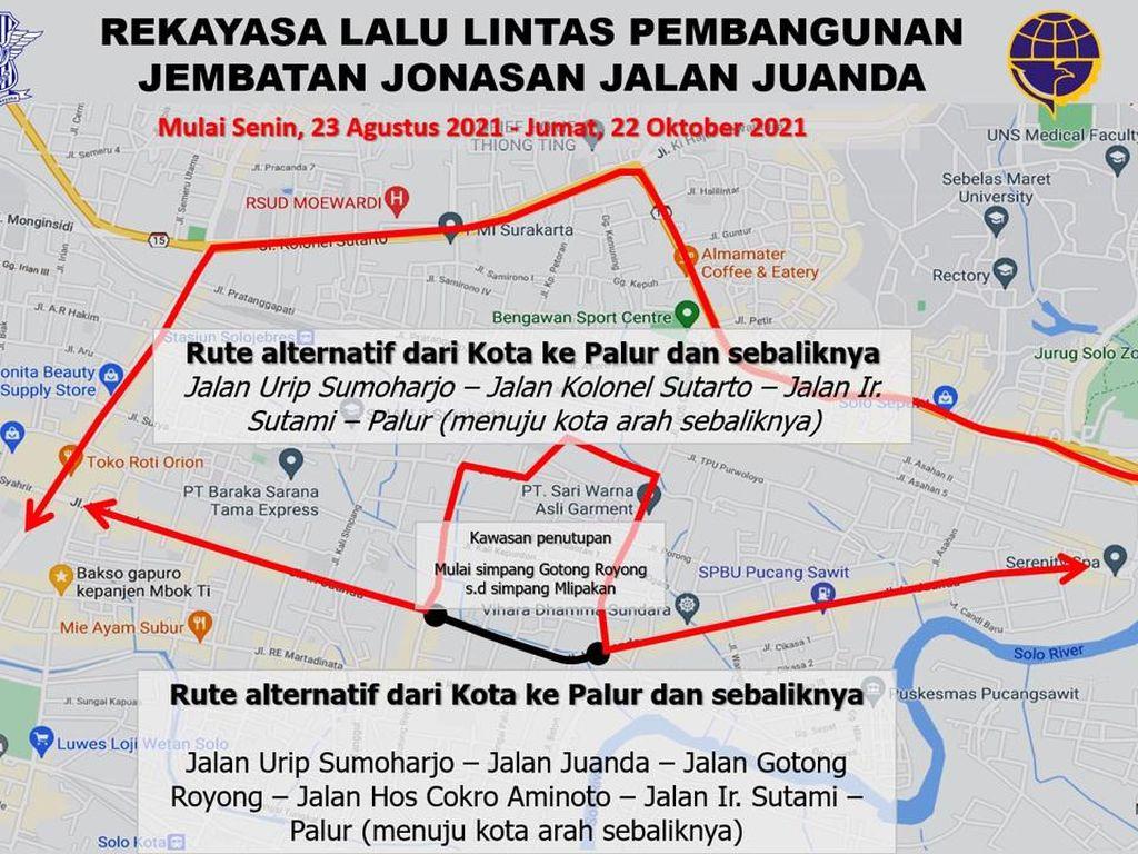 Jalan Juanda Solo Ditutup 2 Bulan, Begini Pengalihan Arus Lalinnya