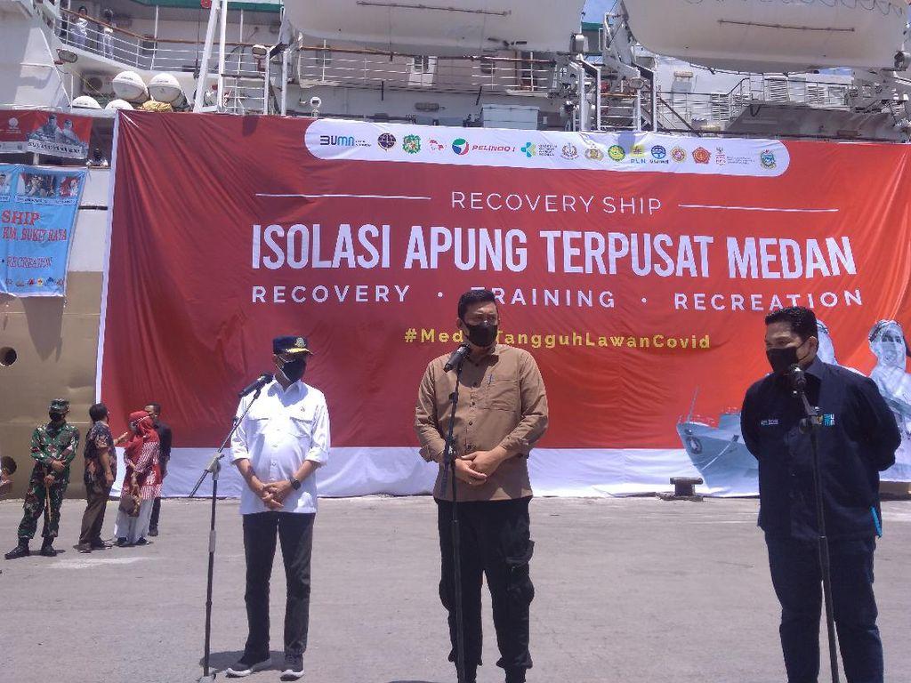 Erick Thohir dan Budi Karya Tinjau Kapal Isoter di Pelabuhan Belawan