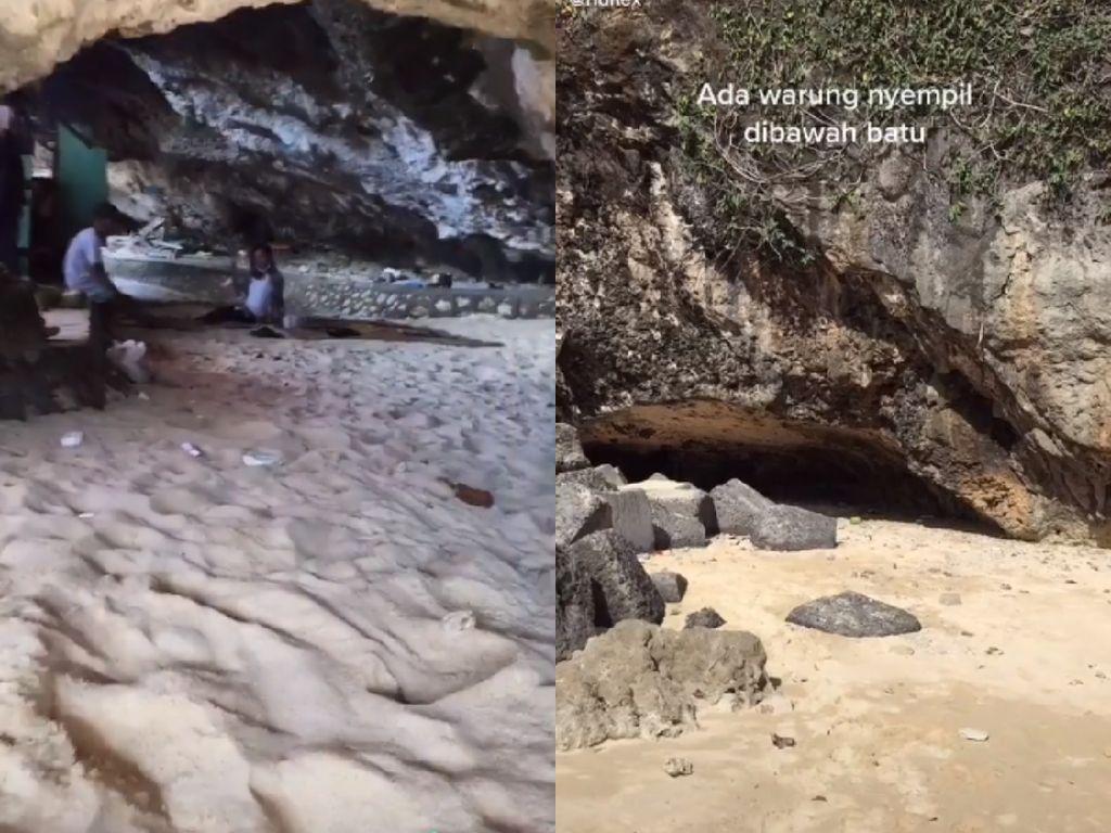 Unik! Warung Makan Ini Nyempil di Balik Batu Karang Pantai