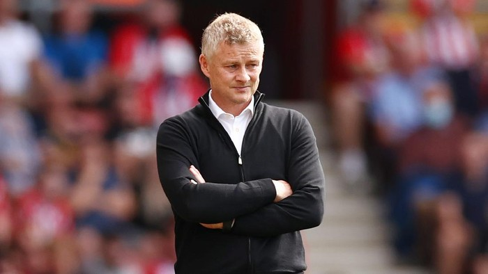 SOUTHAMPTON, ENGLAND - AUGUST 22: Ole Gunnar Solskjaer, Manager of Manchester United looks on during the Premier League match between Southampton and Manchester United at St Marys Stadium on August 22, 2021 in Southampton, England. (Photo by Ryan Pierse/Getty Images)