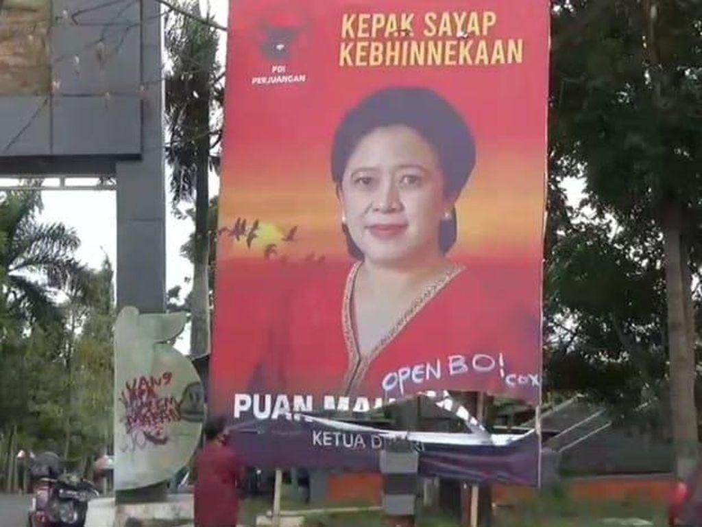 Baliho Puan Maharani Jadi Korban Vandalisme Open BO di Kota Batu
