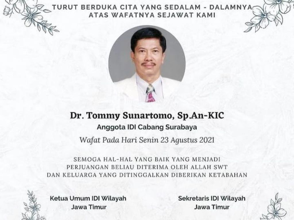 Dokter Tommy, Spesialis Anestesi RSU Soetomo Meninggal Usai Long COVID-19
