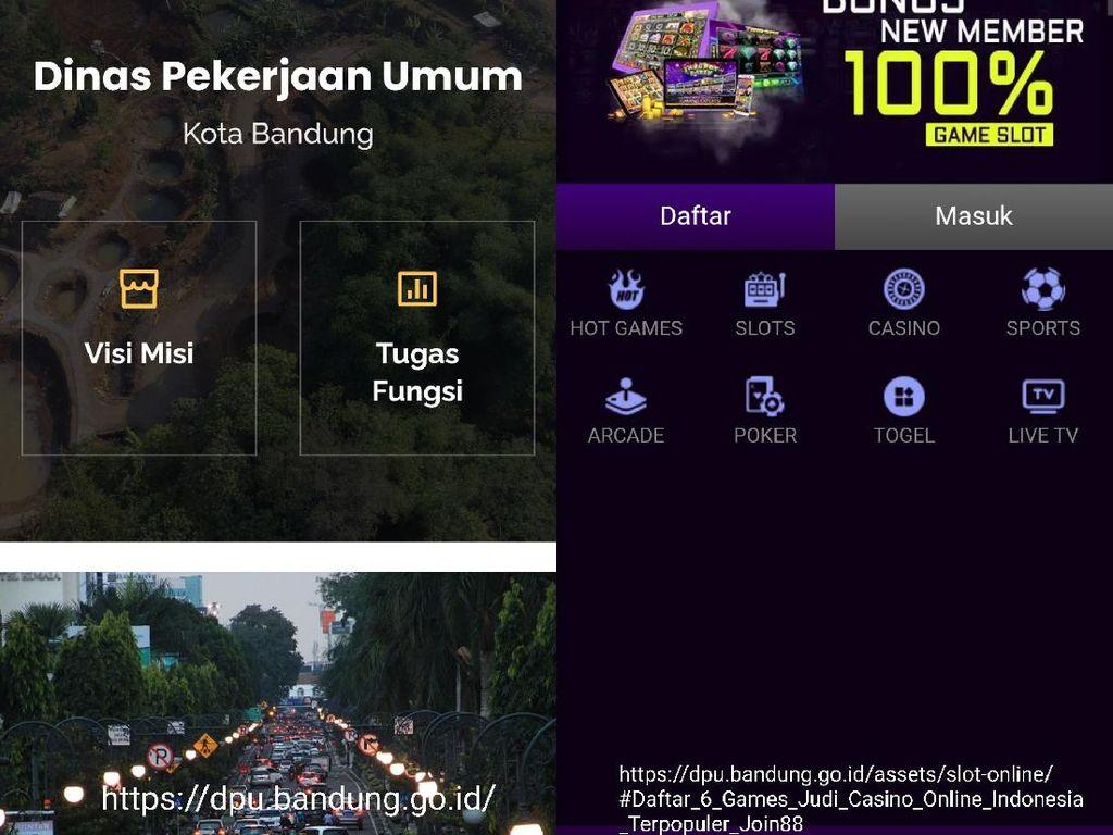 Duh Situs Judi Online Numpang di Domain Milik DPU Kota Bandung