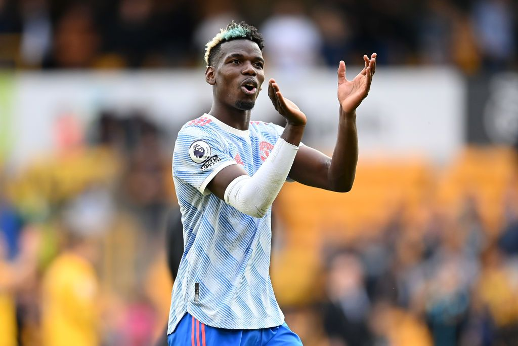 WOLVERHAMPTON, ENGLAND - AUGUST 29: Paul Pogba of Manchester United celebrates following the Premier League match between Wolverhampton Wanderers  and  Manchester United at Molineux on August 29, 2021 in Wolverhampton, England. (Photo by Michael Regan/Getty Images)