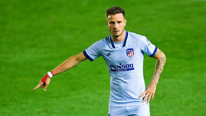 PAMPLONA, SPAIN - JUNE 17: Saul Niguez of Atletico de Madrid reacts during the Liga match between CA Osasuna and Club Atletico de Madrid at El Sadar on June 17, 2020 in Pamplona, Spain. (Photo by David Ramos/Getty Images)