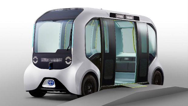 Mobil otonom Toyota e-Palette yang digunakan di Olimpiade dan Paralimpiade 2021.