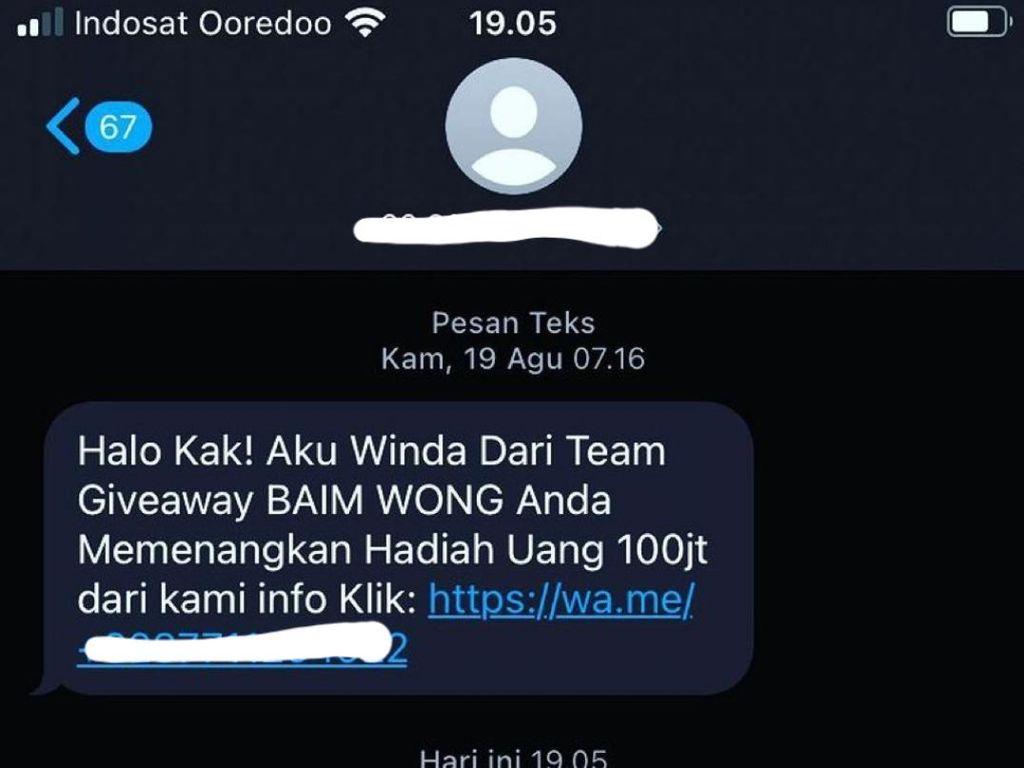 Baim Wong Bagi-bagi Uang hingga Ratusan Juta Lewat SMS, Beneran Nih?