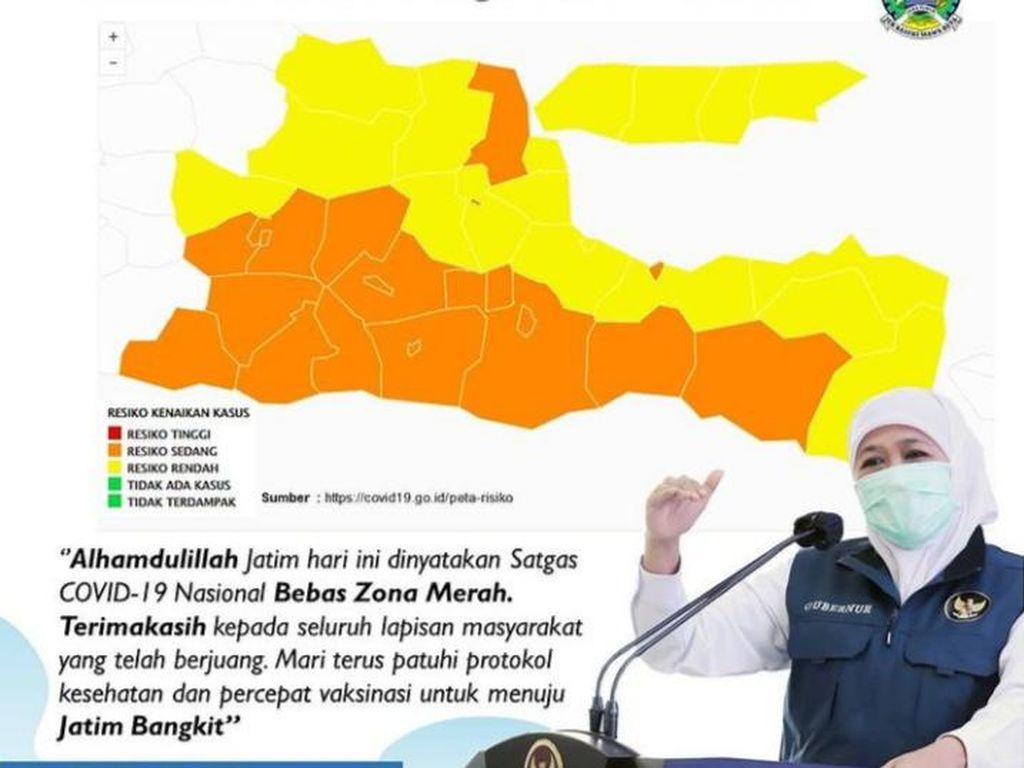 Khofifah Sebut Jawa Timur Bebas Zona Merah COVID-19