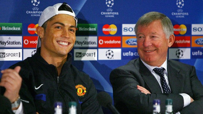 MANCHESTER, ENGLAND - APRIL 06:  Cristiano Ronaldo of Manchester United and Sir Alex Ferguson the manager of Manchester United face the media during a press conference held at Old Trafford on April 6, 2009 in Manchester, England.  (Photo by Alex Livesey/Getty Images)