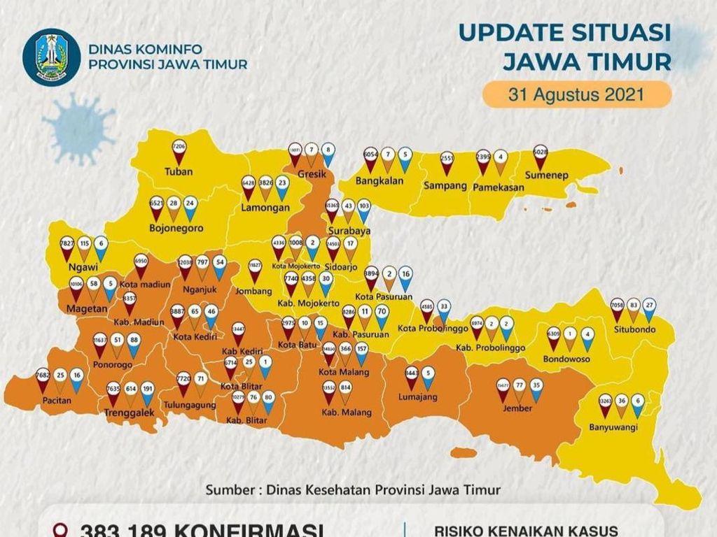 Jawa Timur Zona Oranye dan Kuning, Ini Sebarannya