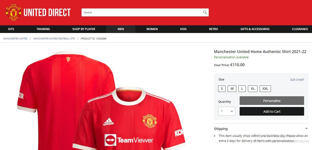 Produk orisinil jersey kandang Manchester United dijual seharga 110 euro.