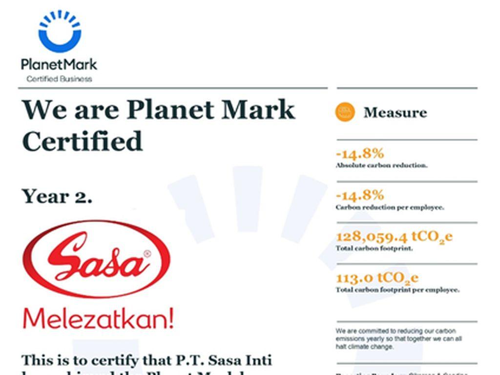 Tekan Emisi Karbon 14,8%, Sasa Inti Raih Sertifikasi The Planet Mark