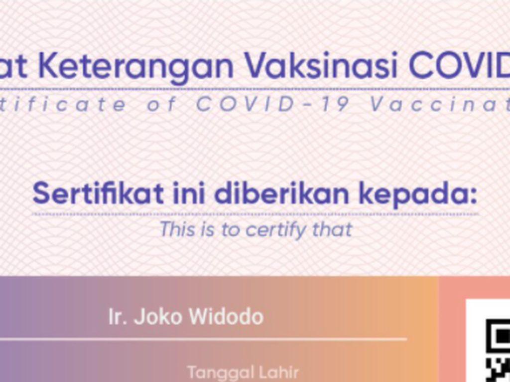 Ramai Sertifikat Vaksin Presiden Jokowi Beredar di Medsos