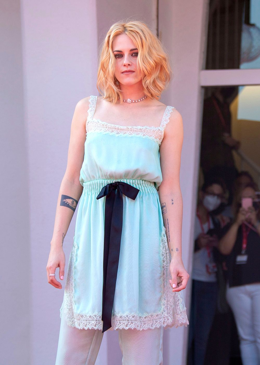 Kristen Stewart poses for photographers upon arrival at the premiere of the film 'Spenser' during the 78th edition of the Venice Film Festival in Venice, Italy, Friday, Sep, 3, 2021. (Photo by Joel C Ryan/Invision/AP)