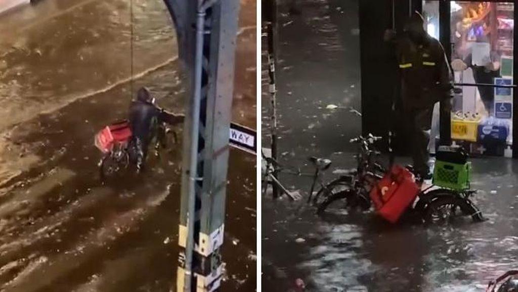 Potret Viral Ganasnya Banjir Bersejarah di Kota New York