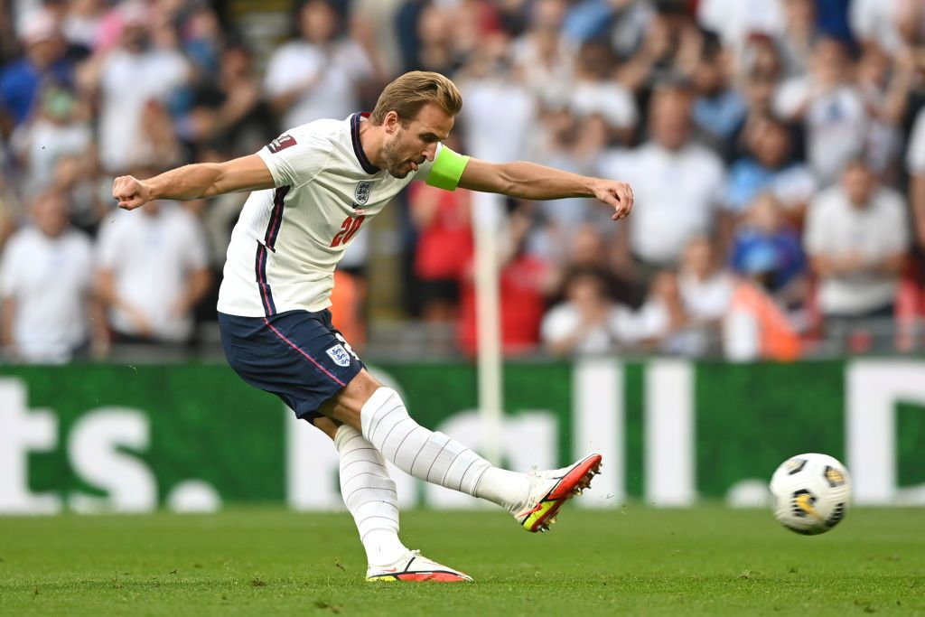 LONDON, ENGLAND - SEPTEMBER 05: Harry Kane of England  scores their team's second goal from the penalty spot during the 2022 FIFA World Cup Qualifier match between England and Andorra at Wembley Stadium on September 05, 2021 in London, England. (Photo by Shaun Botterill/Getty Images)