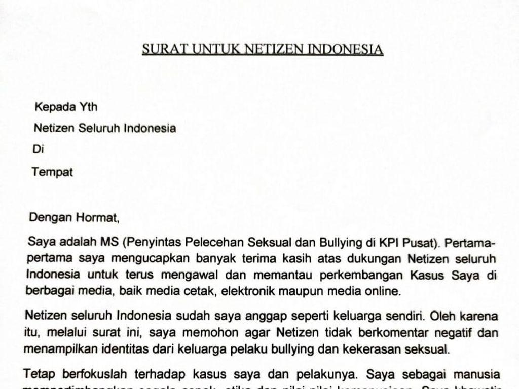 Korban Pelecehan di KPI Bikin Surat Terbuka, Minta Hal Ini ke Netizen