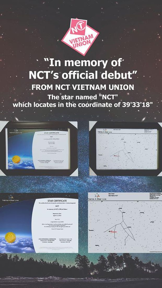 Fans NCT dari Vietnam memberi hadiah bintang untuk grup idola mereka