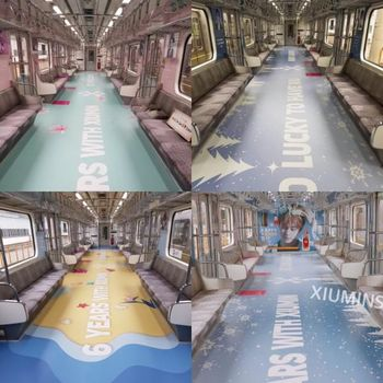 Fans EXO mendekorasi subway dengan wajah Xiumin sebagai hadiah yang unik