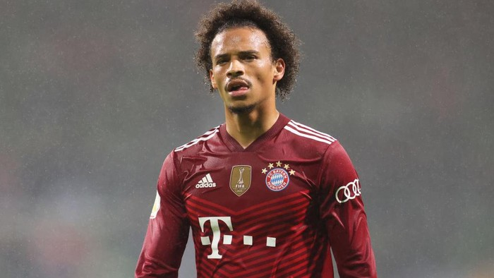 BREMEN, GERMANY - AUGUST 25: Leroy Sane of FC Bayern Muenchen looks on during the DFB Cup first round match between Bremer SV and Bayern Munchen at Wohninvest Weserstadion on August 25, 2021 in Bremen, Germany. (Photo by Joern Pollex/Getty Images)