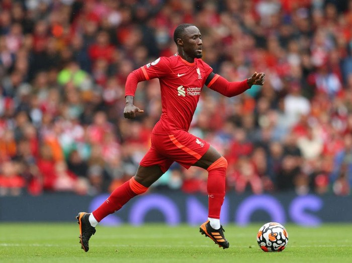 LIVERPOOL, ENGLAND - AUGUST 21: Naby Keita of Liverpool during the Premier League match between Liverpool  and  Burnley at Anfield on August 21, 2021 in Liverpool, England. (Photo by Catherine Ivill/Getty Images)