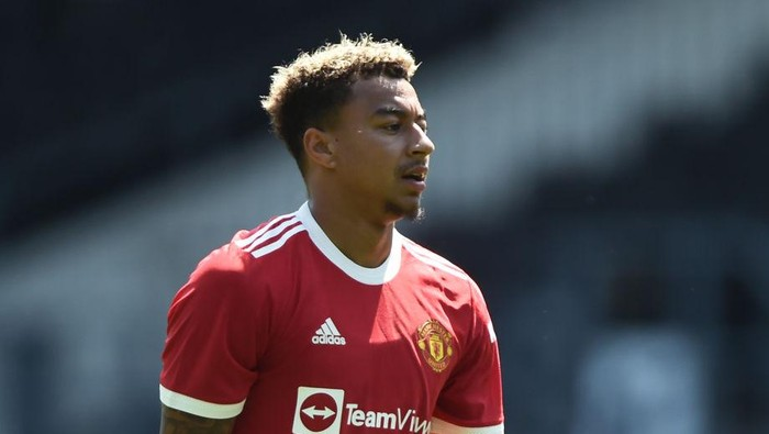 DERBY, ENGLAND - JULY 18: Jesse Lingard of Manchester United looks on during the pre-season friendly match between Derby County and Manchester United at Pride Park on July 18, 2021 in Derby, England. (Photo by Nathan Stirk/Getty Images)