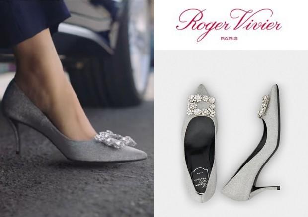 Roger Vivier Flower Strass Buckle Pumps in Fabrics sepatu yang dipakai Shin Min Ah