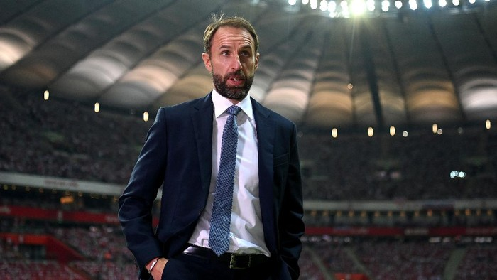 WARSAW, POLAND - SEPTEMBER 08:  England manager Gareth Southgate before the 2022 FIFA World Cup Qualifier match between Poland and England at Stadion Narodowy on September 08, 2021 in Warsaw, Poland. (Photo by Michael Regan/Getty Images)
