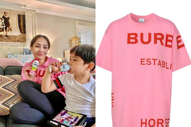 Nagita Slavina dengan Kaus Bernuansa Warna Pink