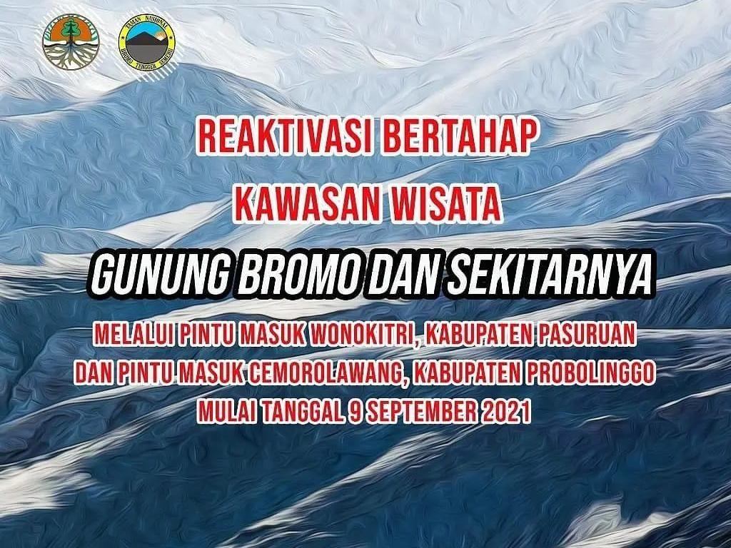 Wisatawan ke Gunung Bromo Wajib Tunjukkan Sertifikat Vaksin