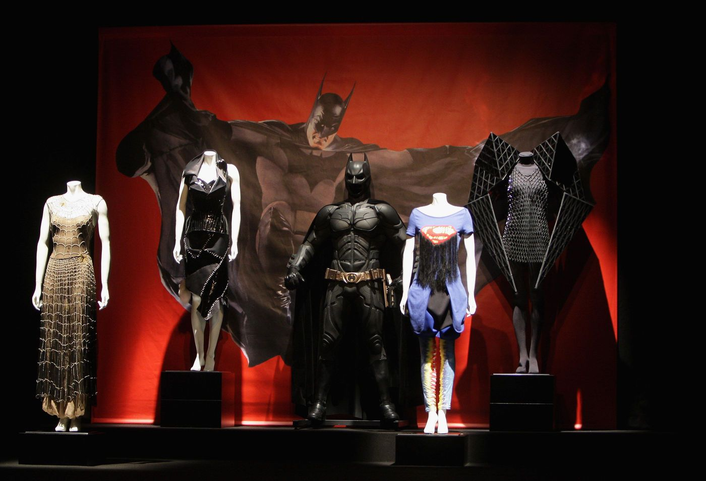 MILAN, ITALY - FEBRUARY 20:  A view of the costumes on stage during the launch of the Giorgio Armani Sponsored Exhibition Super Heroes: Fashion and Fantasy as part of Milan Fashion Week Autumn/Winter 2008/09 at the Metropolitan Museum of Art on February 20, 2008 in Milan, Italy.  (Photo by Venturelli/WireImage)