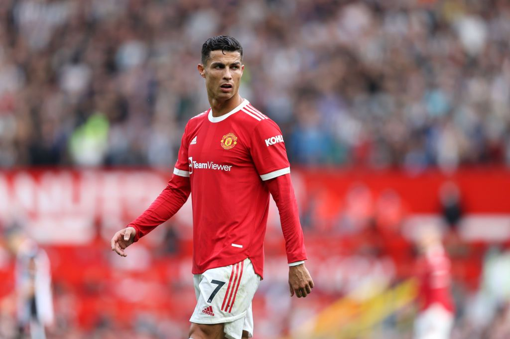 MANCHESTER, ENGLAND - SEPTEMBER 11: Cristiano Ronaldo of Manchester United looks on during the Premier League match between Manchester United and Newcastle United at Old Trafford on September 11, 2021 in Manchester, England. (Photo by Clive Brunskill/Getty Images)