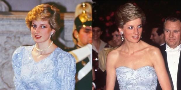 Dress brukat biru Putri Diana